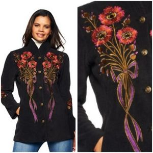 BOB MACKIE embroidered fleece quilted collar coat